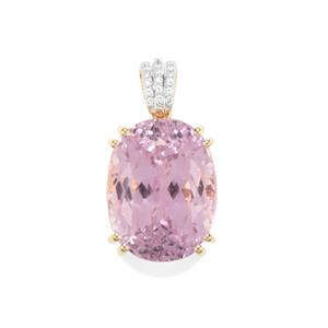 Mawi Kunzite Pendant with Diamond in 18K Gold 27.78cts