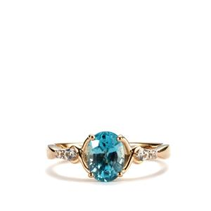 Ratanakiri Blue Zircon Ring with White Zircon in 10K Gold 2.08cts