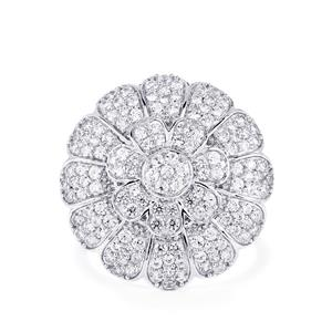 White Zircon Ring in Sterling Silver 2.79cts