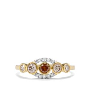 Natural Coloured Diamond Ring with White Diamond in 18K Gold 0.53ct