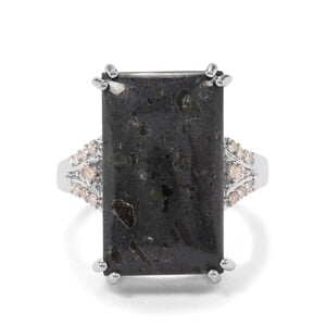 Lamproite & Argyle Diamond Sterling Silver Ring ATGW 11.24cts
