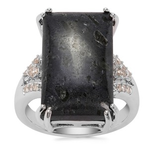Lamproite Ring with Argyle Diamond in Sterling Silver 11.24cts