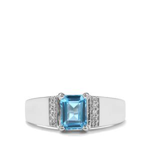 1.91ct Swiss Blue & White Topaz Sterling Silver Ring