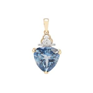 Santa Maria Topaz Pendant with White Zircon in 9K Gold 11.12cts