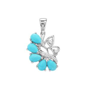 Sleeping Beauty Turquoise Pendant with White Zircon in Sterling Silver 2.10cts