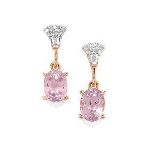 Mawi Kunzite Earrings with Diamond in 9K Rose Gold 2.63cts