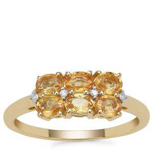 Tanzanian Canary Sapphire Ring with Diamond in 9K Gold 1.42cts