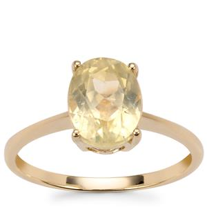 Canary Kunzite Ring in 10k Gold 2.44cts