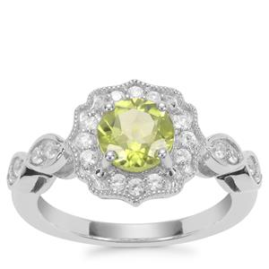 Red Dragon Peridot Ring with White Zircon in Sterling Silver 1.84cts