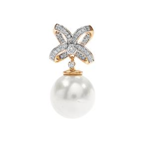 South Sea Cultured Pearl Pendant with Diamond in 18K Gold (13mm)