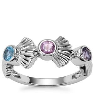 Swiss Blue Topaz, Bengal Iolite Ring with Moroccan Amethyst in Sterling Silver 0.65ct