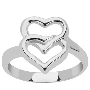 Sterling Silver Two Hearts Ring 3.01g