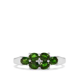 Chrome Diopside & White Zircon Sterling Silver Ring ATGW 1.11cts