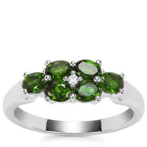 Chrome Diopside Ring with White Zircon in Sterling Silver 1.11cts