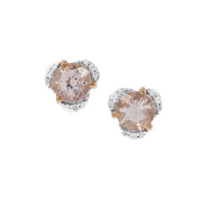 Zambezia Morganite Earrings with White Zircon in 9K Gold 1.54cts
