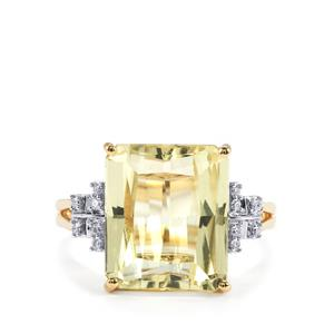 Canary Kunzite & Diamond 18K Gold Lorique Ring MTGW 8.23cts