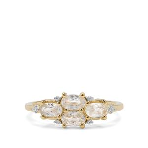 Ceylon White Sapphire Ring in 9K Gold 1.34cts