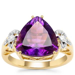 Moroccan Amethyst Ring with Diamond in 18K Gold 4.58cts