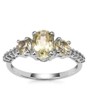 Sillimanite Ring with White Zircon in Sterling Silver 2.33cts
