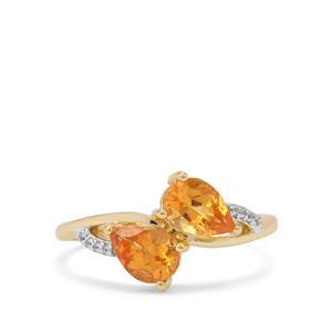Mandarin Garnet & White Zircon 9K Gold Ring ATGW 1.76cts