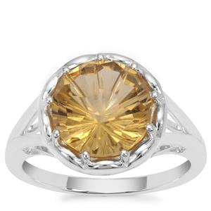 Honeycomb Cut Champagne Quartz Ring in Sterling Silver 3.25cts