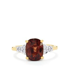 Bekily Color Change Garnet Ring with Diamond in 18k Gold 4.37cts