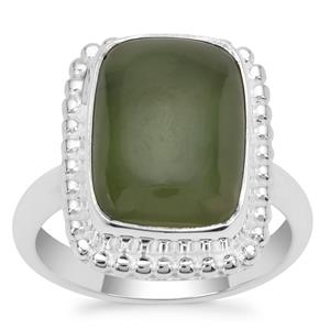 Nephrite Jade Ring in Sterling Silver 9cts