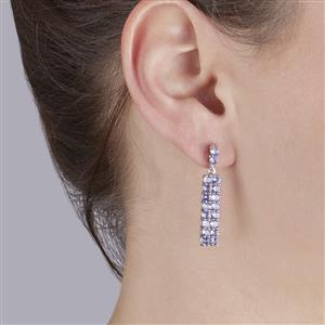 Tanzanite Earrings in Sterling Silver 4.47cts