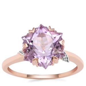 Wobito Snowflake Cut Rose De France Amethyst Ring with Diamond in 9K Rose Gold 4.17cts