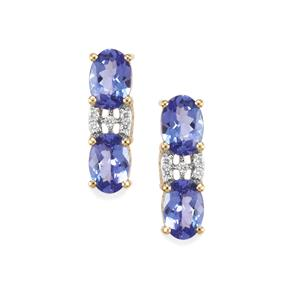 AA Tanzanite & Diamond 18K Gold Tomas Rae Earrings MTGW 2.26cts