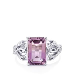4.92ct Rose De France Amethyst Sterling Silver Ring