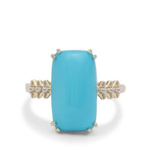 Sleeping Beauty Turquoise Ring with White Zircon in 9K Gold 6.60cts