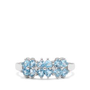 Swiss Blue Topaz & White Zircon Sterling Silver Ring ATGW 1.16cts