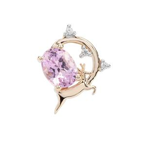 Kolum Kunzite Pendant with White Zircon in 9K Gold 2.06cts