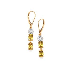 Ambilobe Sphene Earrings with Diamond in 18K Gold 3.22cts