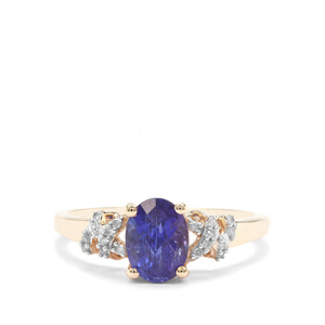 AAA Tanzanite Ring with White Diamond in 9K Gold 1.65cts