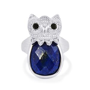 Lapis Lazuli, Black Spinel Ring with White Zircon in Sterling Silver 12.22cts