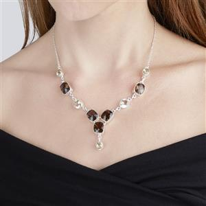 Smokey Quartz & Citron Feldspar Sterling Silver Aryonna Necklace ATGW 29.29cts