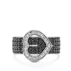 Black Spinel Ring with White Zircon in Sterling Silver 1.33cts