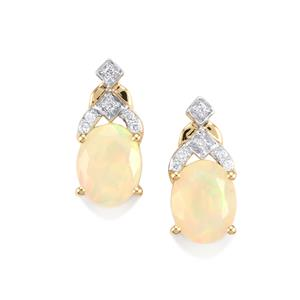 Ethiopian Opal Earrings with Diamond in 18K Gold 2.04cts