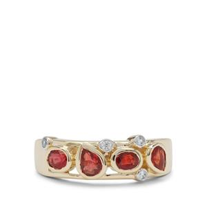 Songea Ruby Ring with White Zircon in 9K Gold 1.10cts