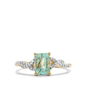 Paraiba Tourmaline Ring with Diamond in 14k Gold 1.45cts