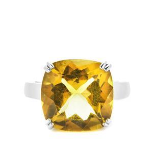 10.95ct Honey Quartz Sterling Silver Ring