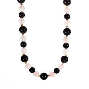 Black Agate & Rose Quartz Sterling Silver Necklace ATGW 204.48cts