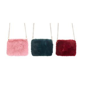 Destello Faux Fur Fluffy Handbag  .01=RED / .02=GREEN / .03=PINK