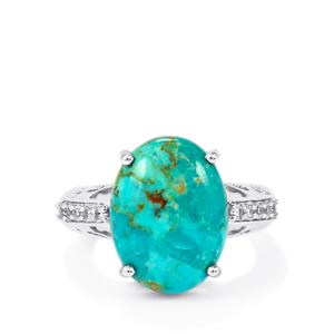 Cochise Turquoise Ring with White Topaz in Sterling Silver 7.17cts