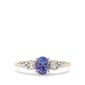 AA Tanzanite & Diamond 9K Gold Ring ATGW 0.78cts