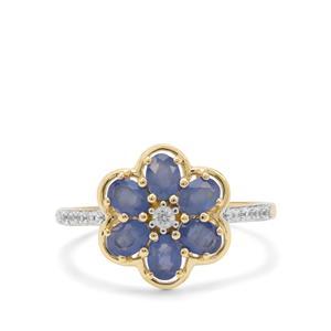 Burmese Blue Sapphire & White Zircon 9K Gold Ring ATGW 1.38cts