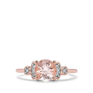 Alto Ligonha Morganite Ring with Diamond in 9K Rose Gold 1.17cts