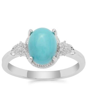 Sleeping Beauty Turquoise Ring with White Zircon in Sterling Silver 1.97cts